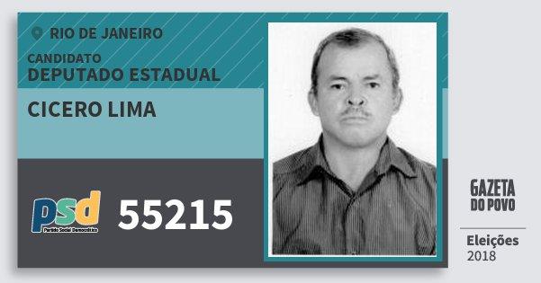 Santinho Cicero Lima 55215 (PSD) Deputado Estadual | Rio de Janeiro | Eleições 2018