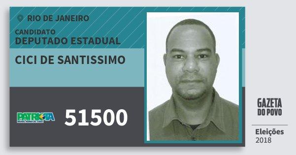 Santinho Cici de Santissimo 51500 (PATRI) Deputado Estadual | Rio de Janeiro | Eleições 2018