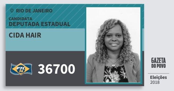 Santinho Cida Hair 36700 (PTC) Deputada Estadual | Rio de Janeiro | Eleições 2018