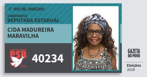 Santinho Cida Madureira Maravilha 40234 (PSB) Deputada Estadual | Rio de Janeiro | Eleições 2018