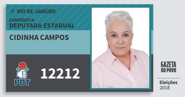 Santinho Cidinha Campos 12212 (PDT) Deputada Estadual | Rio de Janeiro | Eleições 2018