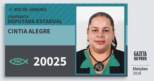 Santinho Cintia Alegre 20025 (PSC) Deputada Estadual | Rio de Janeiro | Eleições 2018