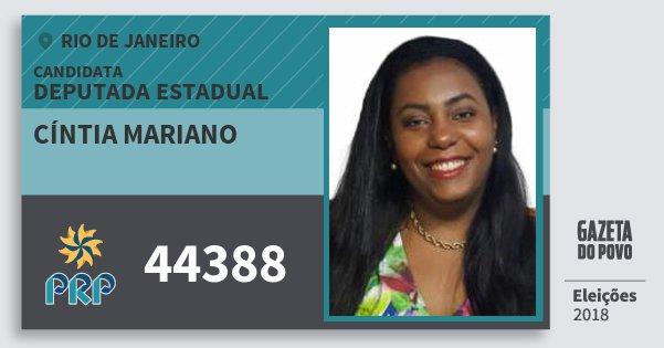 Santinho Cíntia Mariano 44388 (PRP) Deputada Estadual | Rio de Janeiro | Eleições 2018