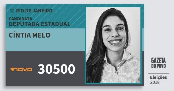Santinho Cíntia Melo 30500 (NOVO) Deputada Estadual | Rio de Janeiro | Eleições 2018