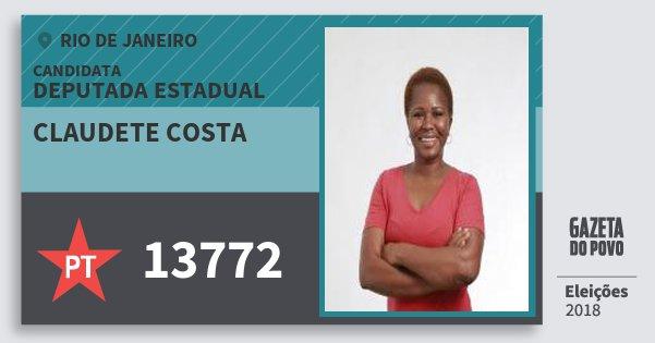 Santinho Claudete Costa 13772 (PT) Deputada Estadual | Rio de Janeiro | Eleições 2018