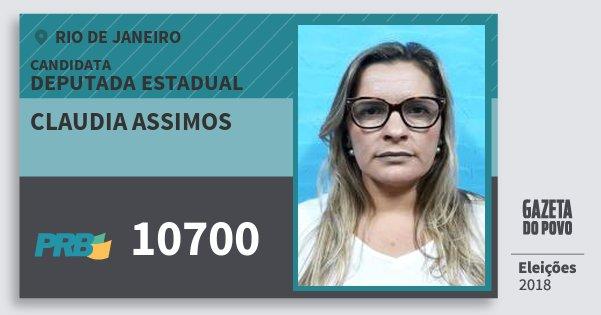 Santinho Claudia Assimos 10700 (PRB) Deputada Estadual | Rio de Janeiro | Eleições 2018