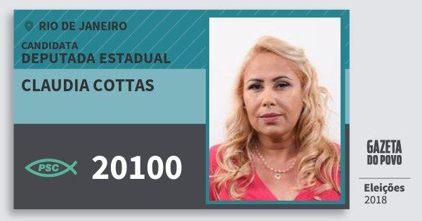 Santinho Claudia Cottas 20100 (PSC) Deputada Estadual   Rio de Janeiro   Eleições 2018