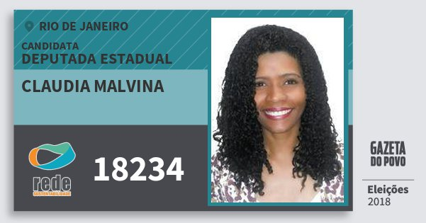 Santinho Claudia Malvina 18234 (REDE) Deputada Estadual | Rio de Janeiro | Eleições 2018