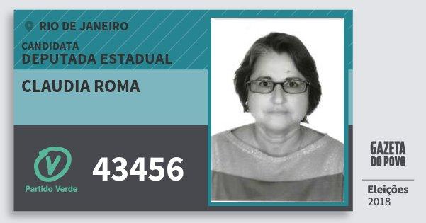 Santinho Claudia Roma 43456 (PV) Deputada Estadual | Rio de Janeiro | Eleições 2018