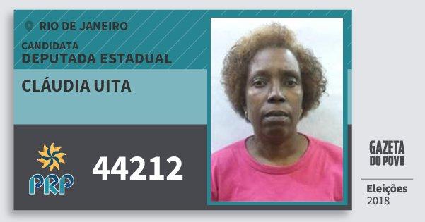Santinho Cláudia Uita 44212 (PRP) Deputada Estadual | Rio de Janeiro | Eleições 2018