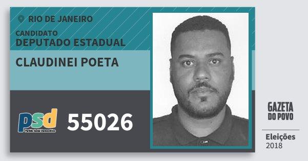 Santinho Claudinei Poeta 55026 (PSD) Deputado Estadual | Rio de Janeiro | Eleições 2018