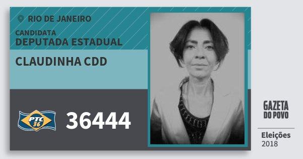 Santinho Claudinha Cdd 36444 (PTC) Deputada Estadual | Rio de Janeiro | Eleições 2018