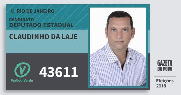 Santinho Claudinho da Laje 43611 (PV) Deputado Estadual | Rio de Janeiro | Eleições 2018