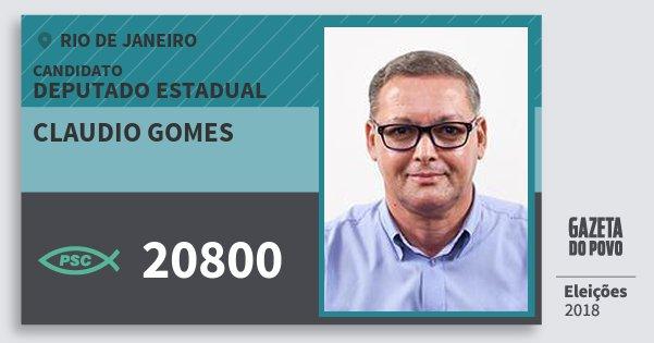 Santinho Claudio Gomes 20800 (PSC) Deputado Estadual | Rio de Janeiro | Eleições 2018