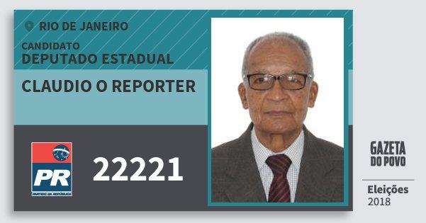 Santinho Claudio O Reporter 22221 (PR) Deputado Estadual | Rio de Janeiro | Eleições 2018