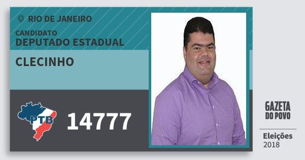 Santinho Clecinho 14777 (PTB) Deputado Estadual | Rio de Janeiro | Eleições 2018