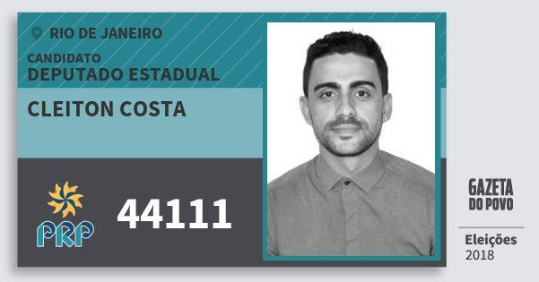 Santinho Cleiton Costa 44111 (PRP) Deputado Estadual | Rio de Janeiro | Eleições 2018