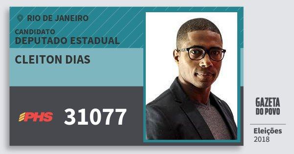 Santinho Cleiton Dias 31077 (PHS) Deputado Estadual | Rio de Janeiro | Eleições 2018