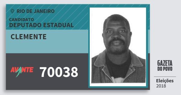 Santinho Clemente 70038 (AVANTE) Deputado Estadual | Rio de Janeiro | Eleições 2018