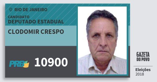 Santinho Clodomir Crespo 10900 (PRB) Deputado Estadual | Rio de Janeiro | Eleições 2018