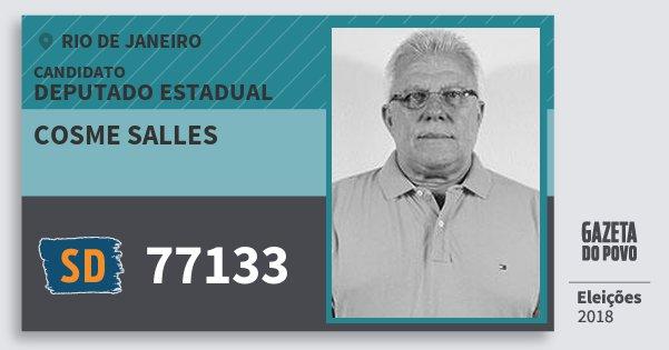 Santinho Cosme Salles 77133 (SOLIDARIEDADE) Deputado Estadual | Rio de Janeiro | Eleições 2018