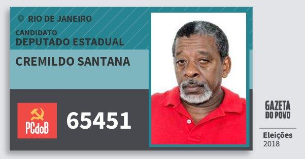 Santinho Cremildo Santana 65451 (PC do B) Deputado Estadual | Rio de Janeiro | Eleições 2018