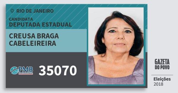 Santinho Creusa Braga Cabeleireira 35070 (PMB) Deputada Estadual | Rio de Janeiro | Eleições 2018