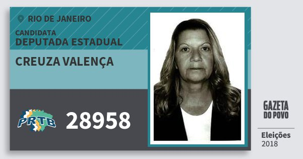 Santinho Creuza Valença 28958 (PRTB) Deputada Estadual | Rio de Janeiro | Eleições 2018