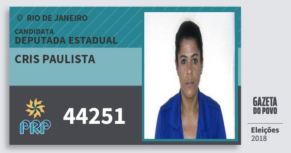 Santinho Cris Paulista 44251 (PRP) Deputada Estadual | Rio de Janeiro | Eleições 2018