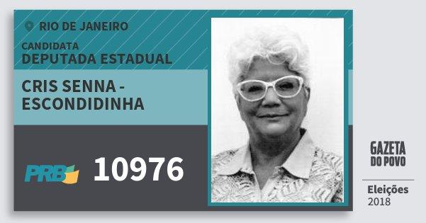 Santinho Cris Senna - Escondidinha 10976 (PRB) Deputada Estadual | Rio de Janeiro | Eleições 2018