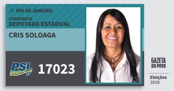 Santinho Cris Soloaga 17023 (PSL) Deputada Estadual | Rio de Janeiro | Eleições 2018