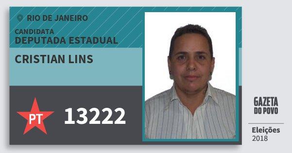 Santinho Cristian Lins 13222 (PT) Deputada Estadual | Rio de Janeiro | Eleições 2018