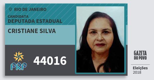 Santinho Cristiane Silva 44016 (PRP) Deputada Estadual | Rio de Janeiro | Eleições 2018