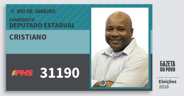 Santinho Cristiano 31190 (PHS) Deputado Estadual | Rio de Janeiro | Eleições 2018