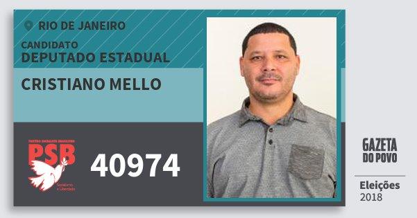 Santinho Cristiano Mello 40974 (PSB) Deputado Estadual | Rio de Janeiro | Eleições 2018
