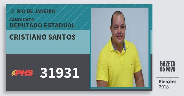 Santinho Cristiano Santos 31931 (PHS) Deputado Estadual | Rio de Janeiro | Eleições 2018