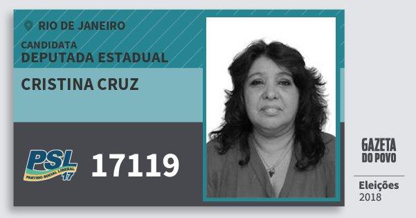 Santinho Cristina Cruz 17119 (PSL) Deputada Estadual | Rio de Janeiro | Eleições 2018