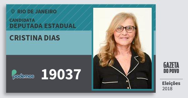 Santinho Cristina Dias 19037 (PODE) Deputada Estadual   Rio de Janeiro   Eleições 2018