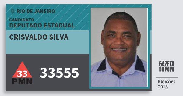Santinho Crisvaldo Silva 33555 (PMN) Deputado Estadual | Rio de Janeiro | Eleições 2018