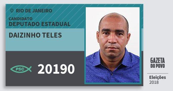 Santinho Daizinho Teles 20190 (PSC) Deputado Estadual | Rio de Janeiro | Eleições 2018