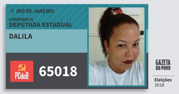 Santinho Dalila 65018 (PC do B) Deputada Estadual | Rio de Janeiro | Eleições 2018