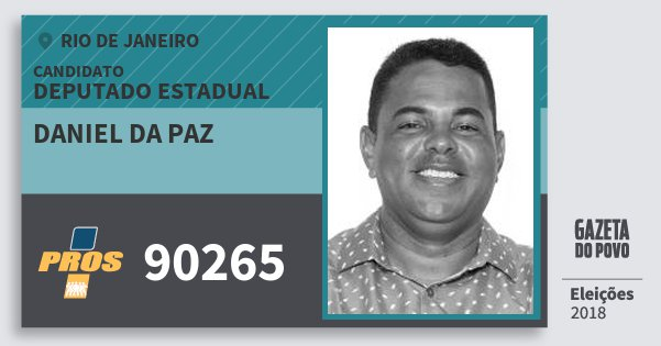 Santinho Daniel da Paz 90265 (PROS) Deputado Estadual | Rio de Janeiro | Eleições 2018