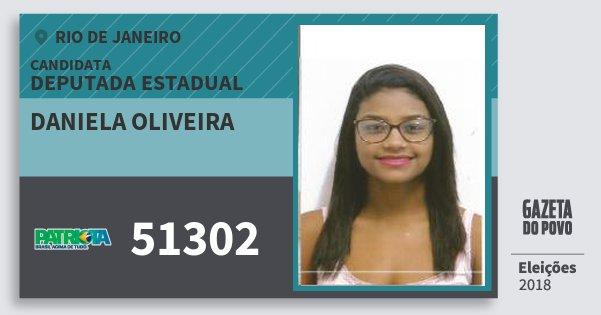 Santinho Daniela Oliveira 51302 (PATRI) Deputada Estadual | Rio de Janeiro | Eleições 2018