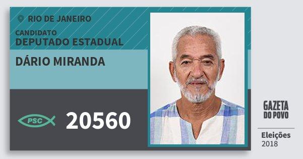Santinho Dário Miranda 20560 (PSC) Deputado Estadual | Rio de Janeiro | Eleições 2018