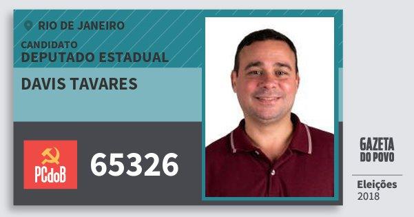 Santinho Davis Tavares 65326 (PC do B) Deputado Estadual | Rio de Janeiro | Eleições 2018