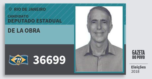Santinho de La Obra 36699 (PTC) Deputado Estadual | Rio de Janeiro | Eleições 2018