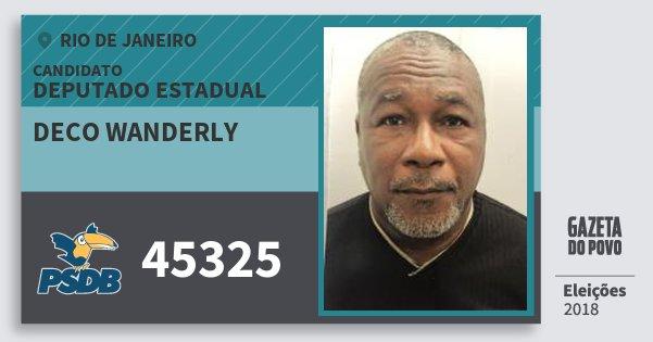 Santinho Deco Wanderly 45325 (PSDB) Deputado Estadual | Rio de Janeiro | Eleições 2018