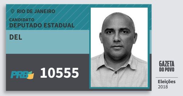 Santinho del 10555 (PRB) Deputado Estadual | Rio de Janeiro | Eleições 2018
