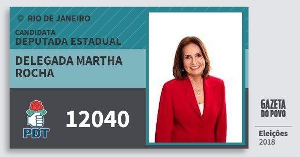 Santinho Delegada Martha Rocha 12040 (PDT) Deputada Estadual | Rio de Janeiro | Eleições 2018