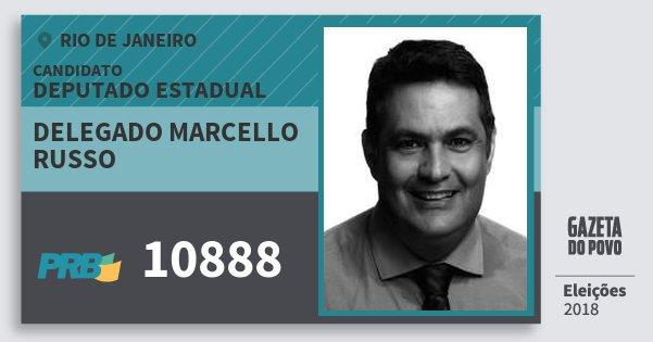 Santinho Delegado Marcello Russo 10888 (PRB) Deputado Estadual | Rio de Janeiro | Eleições 2018